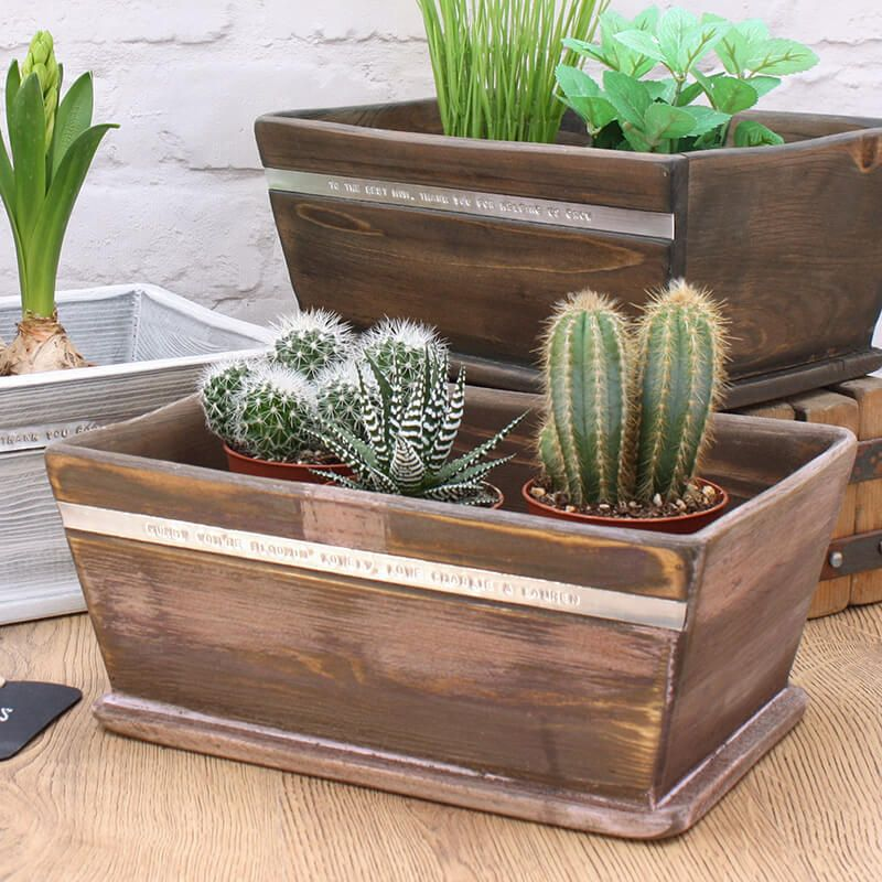 Personalised wooden planter
